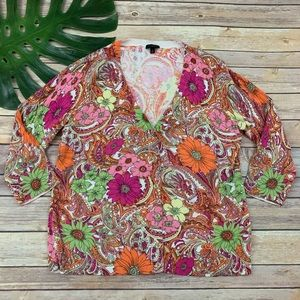 Talbots orange and pink paisley cardigan sweater